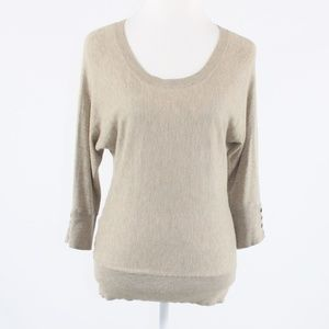 Beige ANN TAYLOR LOFT 3/4 scoop neck sweater PS